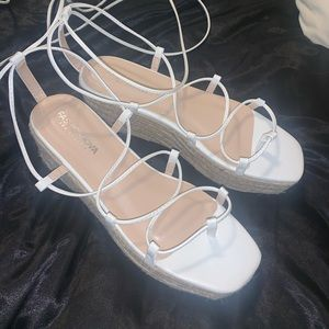 White lace up sandals - brand new never worn!!